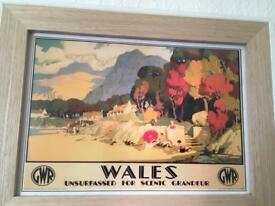 Glass framed picture of Wales