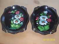 Vintage Russian Hand Painted Floral Decorative Plates ( with plate hangers)