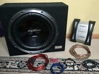 "Sony Xplod 1300w 15"" Subwoofer and Mutant 2 Channel Amp with audio cables"