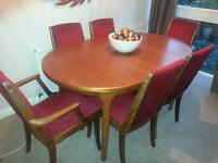 Vintage extendable teak McIntosh table + 6 red chairs