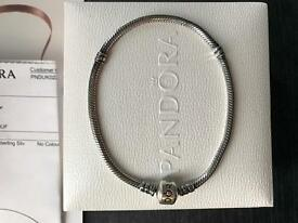 Genuine oxidised silver pandora bracelet