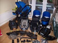 ICANDY PEACH 3 BLOSSOM IN COBALT,CARRYCOTS,SEAT UNITS,CAR SEAT,ISOFIX BASES,6 RAINCOVERS,ADAPTERS