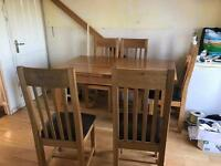 6 chair solid oak extending table
