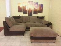 Brown and Beige Large Corner Sofa with Footstool