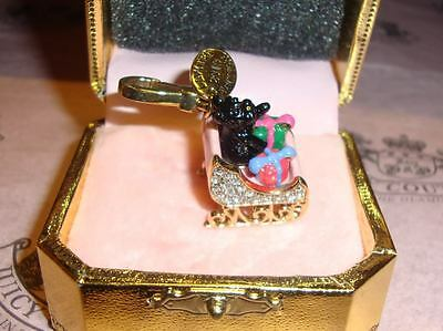 NWT Juicy Couture Yorkie in Sleigh Charm For Bracelet, Necklace,Handbag Keychain
