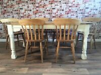 Rustic Farmhouse Extending Dining Table Set with Antique Chairs - Up To 12 Seater
