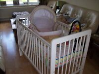 CHEAP STARTER BABY BUNDLE INC COT, COT BEDDING AND MOSES BASKET & STAND SELLING ALTOGETHER
