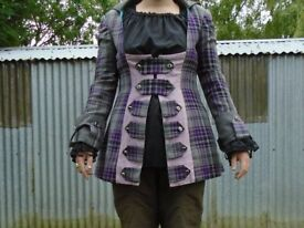 Pirate Highwayman Fancy Dress Tartan Frock Coat and Shirt