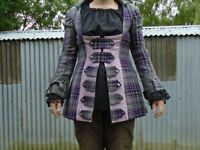 Pirate Highwayman Fancy Dress Tartan Frock Coat and Shirt