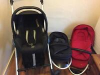 Maxi Cosi travel system, pram, extra carry base, car seat etc