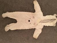Unisex baby snowsuit with bunny ears white 3-6 months