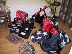 COSATTO GIGGLE HIPSTAR 3 IN 1 TRAVEL SYSTEM PUSHCHAIR,CARRYCOT,CAR SEAT & ISOFIX