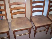 4 real oak dining chairs antique