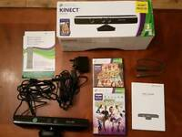 Xbox 360 Kinect + 2 Games & cables (boxed)