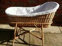 Wicker Moses basket.