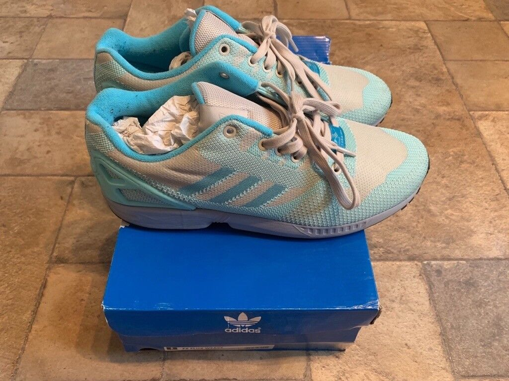 77421d52a548 Used Adidas ZX Flux Weave UK size 10 Sky Blue Grey