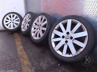 "Peugeot 207 1998-2009 17"" Set Of 4x ALLOY WHEELS with TYRES 205/45 R17 Ref. LL15"
