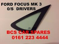 FORD FOCUS MK 3/4 DRIVERS SIDE REAR VENT GLASS 2007 2008 2009 USED
