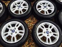 "15"" MINT CONDITION FORD FIESTA ALLOY WHEELS WITH 4 MATCHING TYRES SET OF 4"