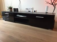 TV Unit , TV Cabinet , TV Stand BlackTV Unit Cabinet Stand High Gloss Black w/ 2 Drawers & 2 Shelves