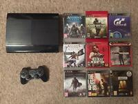 PS3 Super Slim 500GB with controller, all cables and 9 games.