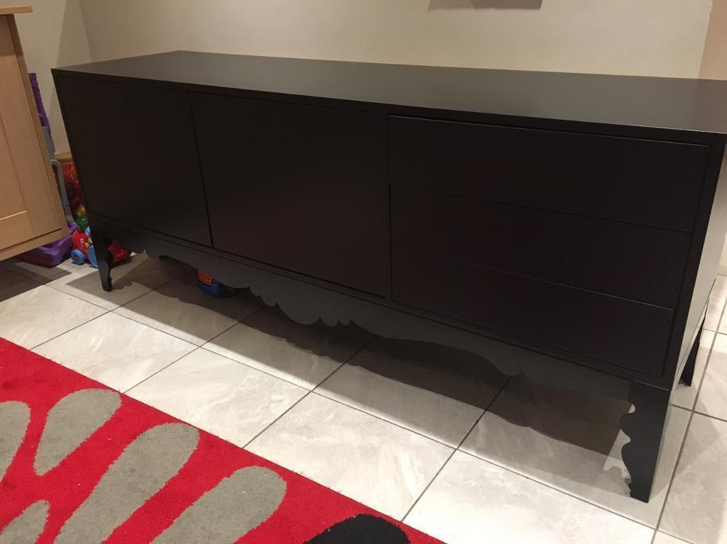 Credenza Trollsta Ikea : Black ikea sideboard trollsta in hutton essex gumtree