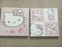 2 x girls hello kitty canvas prints by next