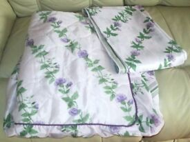 "S/SIZE Bedspread, fitted quilted padded & 2 pairs matching Curtains 23W x 62""L pretty lilac & green"