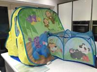Fisher price animals pop up tent Wendy house den with separate tunnel