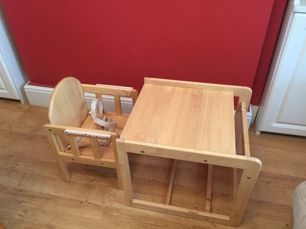 Wooden High Chair Converts To Table And