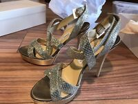 JIMMY CHOO Vamp Champagne Gold Glitter Heels £475 UK 5.5 39.5 Wedding