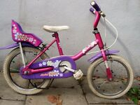 "Girls Bike by Raleigh, Pink & Purple,14 "" Wheels Great for Kids 4+ Years, JUST SERVICED/CHEAP PRICE!"