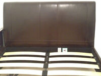 King Size Faux Leather Bed Frame and Sealy Mattress - Very Good Condition