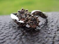 Platinum .66ct x2 Solitaire Brilliant Cut Diamond Twist Engagement Ring J 1/2