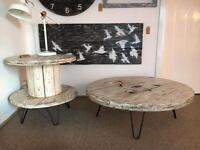 Distressed White Cable Drum Coffee Table / Side Table
