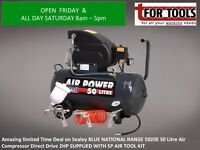 Sealey 50 Litre Air Compressor Direct Drive 2HP WITH 5P AIR TOOL KIT BLUE NATIONAL RANGE 5020E