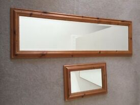 Bevelled long mirror and small mirror