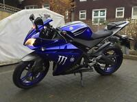 BLUE YAMAHA YZF R125 WITH SPORTS EXHAUST 2013!