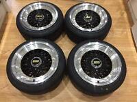 "NEW 15"" 8j bbs rs style alloy wheels 4x100 4x114.3 et30 VW golf mk1 mk2 BMW e30 Renault Clio mx5"