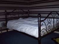 Good Metal Double bed black with silver shabby chic finish £25 o.n.o