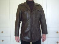 Vintage 70s brown leather jacket for sale