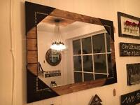 Large Wood and Leather Rustic Mirror