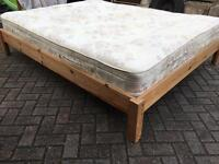 Kingsize pine bed with mattress-Free delivery
