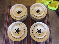 Vw T2 powder coated steel wheels white