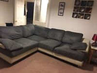 Large Suede and Leather Corner Sofa