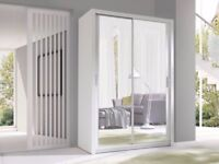 5 COLOURS AVAILABLE == Brand New 2 Sliding Door Wardrobe with Mirror White Bedroom Furniture UK