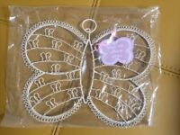New Vintage Wire Butterfly Card Holder Cream 27cm Bedroom Living Room Kitchen Shabby Chic