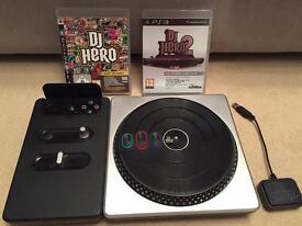 PS3 DJ Hero Turntable & 2Games