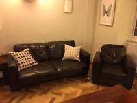 Comfy leather sofa bed + arm chair