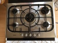 Bosch brushed stainless steel gas hob.